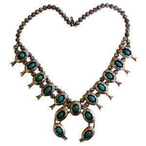 Silver & Turquoise Squash Blossom Necklace VTG 70s